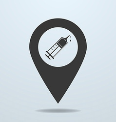 Map pointer with a syringe symbol vector