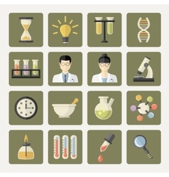 Science and research web icons vector