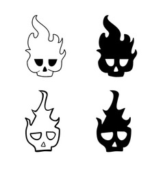 Skulls in fire vector