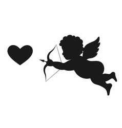 Angel Amur Cupid on Wings with Bow Arrow and Heart vector image
