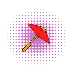 Asian red parasol or umbrella icon comics style vector