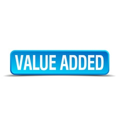 Value added blue 3d realistic square isolated vector