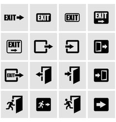 black exit icon set vector image