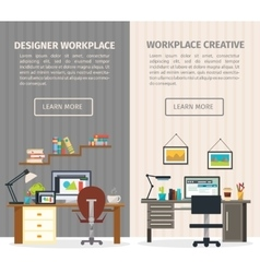 Two interior working place banner set vector