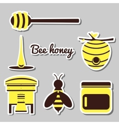 Apiary set icons vector