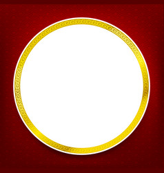 Chinese traditional art blank frame red circle vector