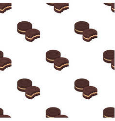 Chocolate sandwich cookies icon in cartoon style vector