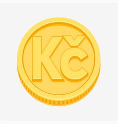 czech koruna symbol on gold coin vector image vector image
