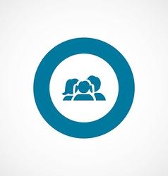 Family bold blue border circle icon vector