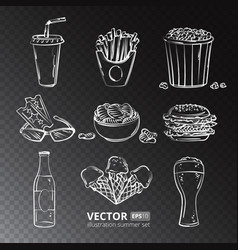 Fast food icons isolated on transparent vector