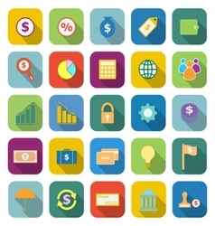 Finance color icons with long shadow vector image vector image