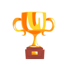 golden trophy cup cartoon vector image
