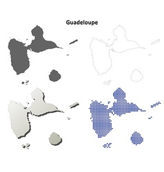 Guadeloupe outline map set vector