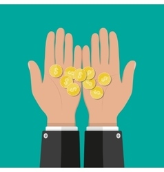 Hands with golden coins savings donation paying vector image