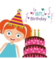 Happy birthday celebration card with kid vector
