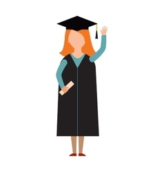 Happy graduation people uniform throwing caps vector image vector image