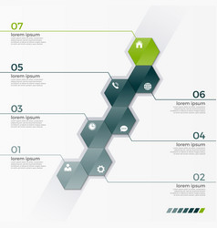 Infographic template with 7 hexagons vector