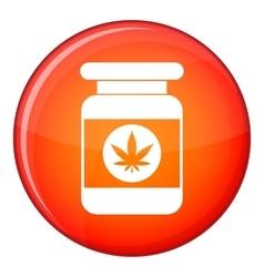 Jar of powder marijuana icon flat style vector