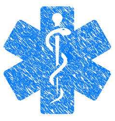 life star medical emblem grunge icon vector image