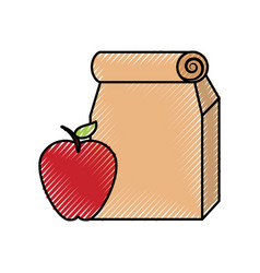 Lunch bag in paper bag with apple vector