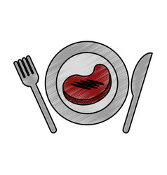Meat beef with cutlery isolated icon vector