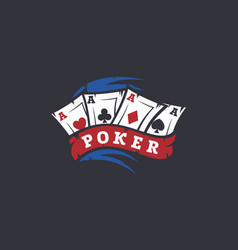 modern professional logo emblem poker game vector image