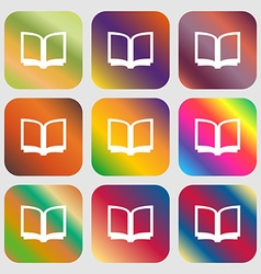 Open book icon nine buttons with bright gradients vector