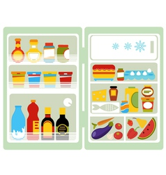 Open fridge with food vector image vector image