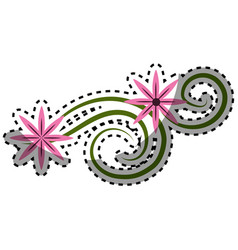 pink flowers branches decoration vector image
