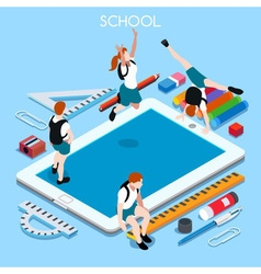 School Devices 03 People Isometric vector image vector image