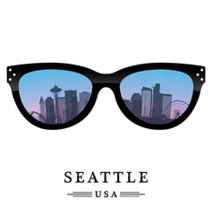 Seattle city skyline silhouette in the glasses vector