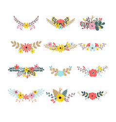 Set of floral bouquets for decoration floral vector