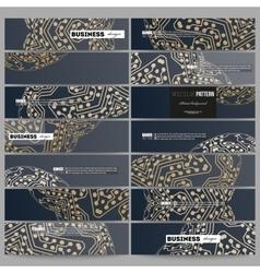 Set of modern banners Golden microchip pattern vector image