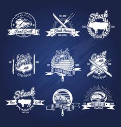 Steak grill labels set vector