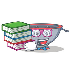 Student with book colander utensil character vector