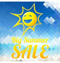 Summer sale design template with smiling sun vector image vector image