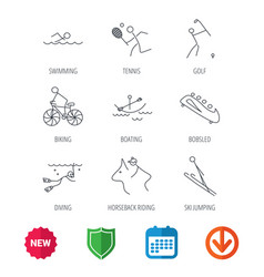 swimming tennis and golf icons biking diving vector image vector image