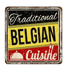 traditional belgian cuisine vintage rusty metal vector image