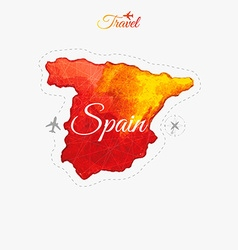Travel around the world Spain Watercolor map vector image