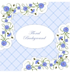Vintage card with cornflowers and leaves vector image