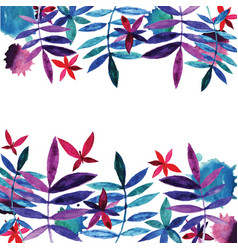 watercolor flowers and leaves vector image vector image