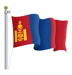 waving mongolia flag isolated on a white vector image vector image