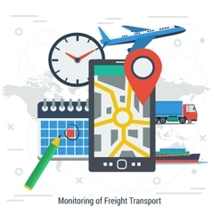 Monitoring of freight transport concept vector