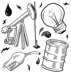 Doodle power source oil vector