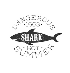 Reef Shark Summer Surf Club Black And White Stamp vector image