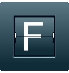 Letter f from mechanical scoreboard vector