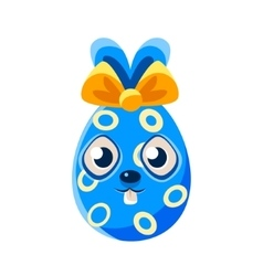 Easter egg shaped blue easter bunny with bow vector