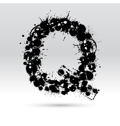 Letter q formed by inkblots vector