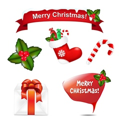 Merry Christmas Icons And Speech Bubble vector image