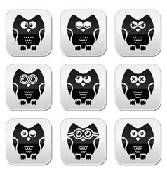 Owl cartoon character buttons set vector image